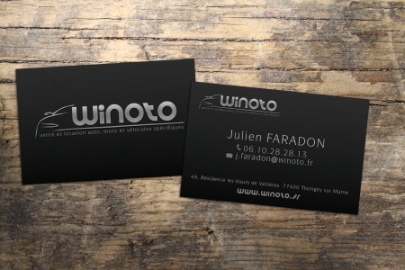Cartes de visites avec vernis selectif pour WINOTO